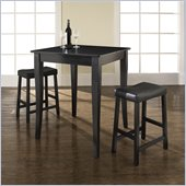 Crosley Furniture 3 Piece Pub Dining Set with Cabriole Leg and Upholstered Saddle Stools in Black Finish