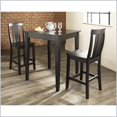 Crosley Furniture 3 Piece Pub Dining Set with Tapered Leg and Shield Back Stools in Black Finish