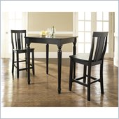 Crosley Furniture 3 Piece Pub Dining Set with Turned Leg and Shield Back Stools in Black Finish