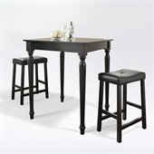 Crosley Furniture 3 Piece Pub Dining Set with Turned Leg and Upholstered Saddle Stools in Black Finish