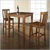 Crosley Furniture 3 Piece Pub Dining Set with Cabriole Leg and Shield Back Stools in Classic Cherry Finish