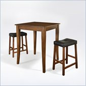 Crosley Furniture 3 Piece Pub Dining Set with Cabriole Leg and Upholstered Saddle Stools in Classic Cherry Finish