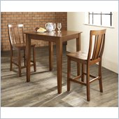 Crosley Furniture 3 Piece Pub Dining Set with Tapered Leg and Shield Back Stools in Classic Cherry Finish