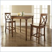 Crosley Furniture 3 Piece Pub Dining Set with Turned Leg and X-Back Stools in Classic Cherry Finish