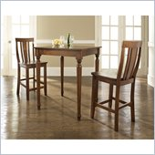 Crosley Furniture 3 Piece Pub Dining Set with Turned Leg and Shield Back Stools in Classic Cherry Finish