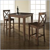 Crosley Furniture 3 Piece Pub Dining Set with Cabriole Leg and X-Back Stools in Vintage Mahogany Finish