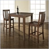 Crosley Furniture 3 Piece Pub Dining Set with Cabriole Leg and School House Stools in Vintage Mahogany Finish