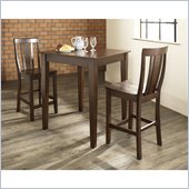 Crosley Furniture 3 Piece Pub Dining Set with Tapered Leg and Shield Back Stools in Vintage Mahogany Finish