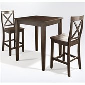 Crosley Furniture 3 Piece Pub Dining Set with Tapered Leg and School House Stools in Vintage Mahogany Finish