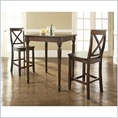 Crosley Furniture 3 Piece Pub Dining Set with Turned Leg and X-Back Stools in Vintage Mahogany Finish