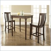 Crosley Furniture 3 Piece Pub Dining Set with Turned Leg and Shield Back Stools in Vintage Mahogany Finish