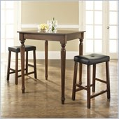 Crosley Furniture 3 Piece Pub Dining Set with Turned Leg and Upholstered Saddle Stools in Vintage Mahogany Finish