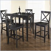 Crosley Furniture 5 Piece Pub Dining Set with Cabriole Leg and X-Back Stools in Black Finish