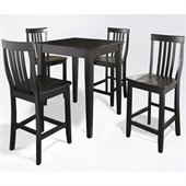 Crosley Furniture 5 Piece Pub Dining Set with Tapered Leg and School House Stools in Black Finish