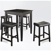 Crosley Furniture 5 Piece Pub Dining Set with Tapered Leg and Upholstered Saddle Stools in Black Finish