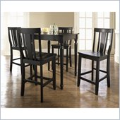 Crosley Furniture 5 Piece Pub Dining Set with Turned Leg and Shield Back Stools in Black Finish