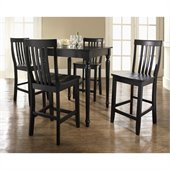 Crosley Furniture 5 Piece Pub Dining Set with Turned Leg and School House Stools in Black Finish