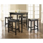 Crosley Furniture 5 Piece Pub Dining Set with Turned Leg and Upholstered Saddle Stools in Black Finish