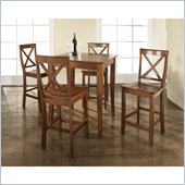 Crosley Furniture 5 Piece Pub Dining Set with Cabriole Leg and X-Back Stools in Classic Cherry Finish