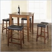 Crosley Furniture 5 Piece Pub Dining Set with Cabriole Leg and Upholstered Saddle Stools in Classic Cherry Finish
