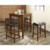 Crosley Furniture 5 Piece Pub Dining Set with Tapered Leg and Upholstered Saddle Stools in Classic Cherry Finish