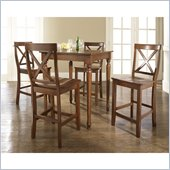 Crosley Furniture 5 Piece Pub Dining Set with Turned Leg and X-Back Stools in Classic Cherry Finish