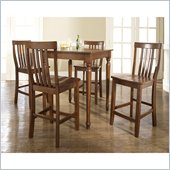 Crosley Furniture 5 Piece Pub Dining Set with Turned Leg and School House Stools in Classic Cherry Finish