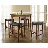 Crosley Furniture 5 Piece Pub Dining Set with Turned Leg and Upholstered Saddle Stools in Classic Cherry Finish