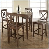 Crosley Furniture 5 Piece Pub Dining Set with Cabriole Leg and X-Back Stools in Vintage Mahogany Finish