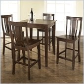 Crosley Furniture 5 Piece Pub Dining Set with Cabriole Leg and Shield Back Stools in Vintage Mahogany Finish