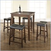 Crosley Furniture 5 Piece Pub Dining Set with Cabriole Leg and Upholstered Saddle Stools in Vintage Mahogany Finish