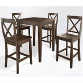 Crosley Furniture 5 Piece Pub Dining Set with Tapered Leg and X-Back Stools in Vintage Mahogany Finish