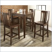 Crosley Furniture 5 Piece Pub Dining Set with Tapered Leg and Shield Back Stools in Vintage Mahogany Finish