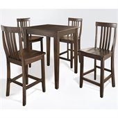 Crosley Furniture 5 Piece Pub Dining Set with Tapered Leg and School House Stools in Vintage Mahogany Finish