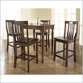 Crosley Furniture 5 Piece Pub Dining Set with Turned Leg and School House Stools in Vintage Mahogany Finish