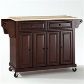 Crosley Furniture Natural Wood Top Mahogany Kitchen Cart