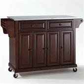 Crosley Furniture Stainless Steel Top Mahogany Kitchen Cart