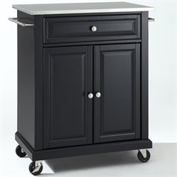 Crosley Furniture Stainless Steel Top Kitchen Cart in Black