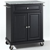 Crosley Furniture Solid Granite Top Kitchen Cart in Black