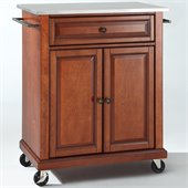 Crosley Furniture Stainless Steel Top Classic Cherry Kitchen Cart