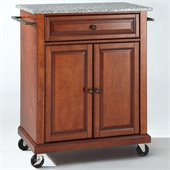 Crosley Furniture Solid Granite Top Classic Cherry Kitchen Cart