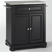 Crosley Furniture Alexandria Stainless Steel Top Black Kitchen Island