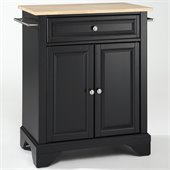 Crosley Furniture LaFayette Natural Wood Top Kitchen Island in Black