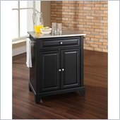 Crosley Furniture Newport Stainless Steel Top Kitchen Island in Black