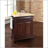 Crosley Furniture Newport Natural Wood Top Kitchen Island in Mahogany