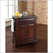 Crosley Furniture Newport Black Granite Top Kitchen Island in Mahogany