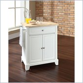 Crosley Furniture Newport Natural Wood Top Kitchen Island in White