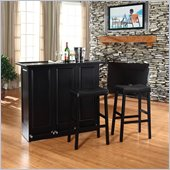 Crosley Mobile Folding Bar in Black with 29 Upholstered Saddle Stool