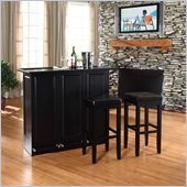Crosley Mobile Folding Bar in Black with 29 Upholstered Stool