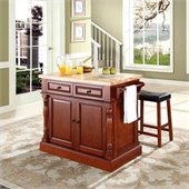 Crosley Oxford Butcher Block Top Kitchen Island with Stools in Cherry